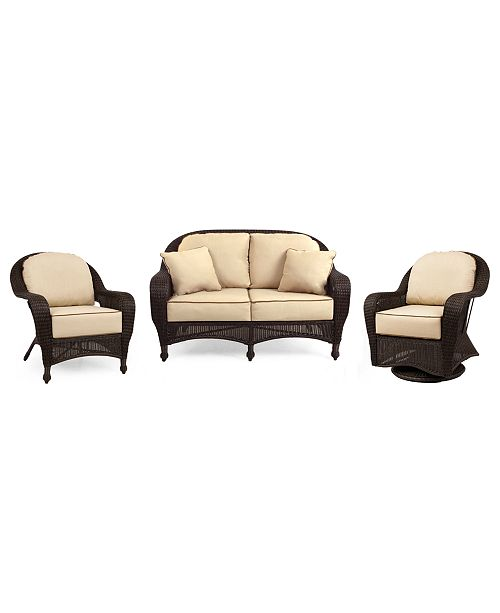Furniture Monterey Outdoor Wicker 3-Pc. Seating Set with Sunbrella® Cushions  (1 Loveseat, 1 Club Chair and 1 Swivel Glider), Created for Macy's