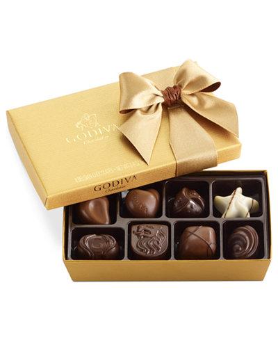 Godiva Chocolatier 8 Pc Gold Bow Ballotin Box Of