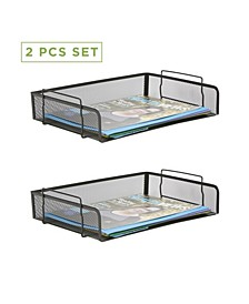 2 Piece Stackable Side Load Storage Tray, Document Holder