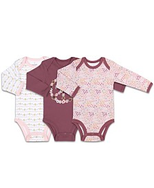 The Peanutshell Baby Girl Floral Mauve Long Sleeve Bodysuit 3 Pack