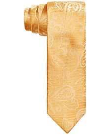 Tallia Men's Slim Gold Tonal Paisley Silk Tie
