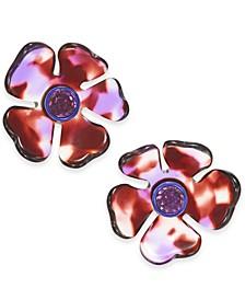 Gold-Tone Crystal Flower Stud Earrings