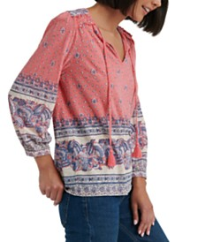 Lucky Brand Cotton Printed Peasant Top