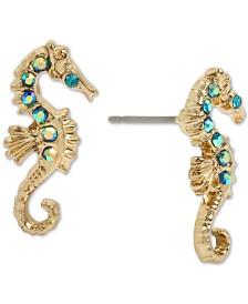 Betsey Johnson Gold-Tone Pavé Seahorse Stud Earrings