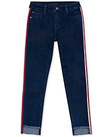 Toddler Girls Side-Stripe Step-Hem Skinny Jeans