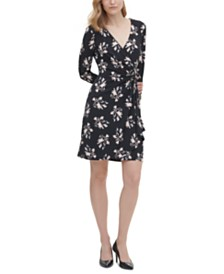 Calvin Klein Printed Ruched Dress