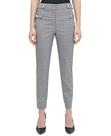 Plaid Button-Tab Ankle Pants