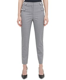 Calvin Klein Plaid Button-Tab Ankle Pants