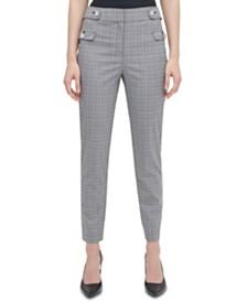 Calvin Klein Plaid Button-Tab Ankle Pants