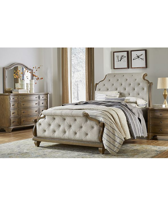 Furniture Trisha Yearwood Jasper County Stately Brown Upholstered Bedroom Collection