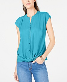 INC Petite Twist-Front Top, Created For Macy's