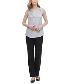 Calvin Klein Metallic Sleeveless Inverted-Pleat Top