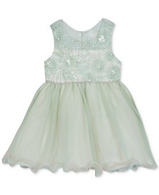 Rare Editions Baby Girls Sequin Embroidered Dress