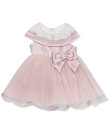 Rare Editions Baby Girls Bow-Trim Mikado Dress