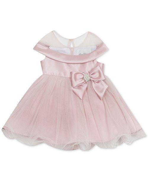 Rare Editions Baby Girls Bow-Trim Mikado Dress