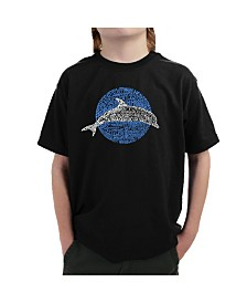 LA Pop Art Big Boy's Word Art T-Shirt - Species of Dolphin