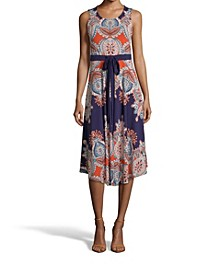 Paisley Print Dress Sleeveless Dress