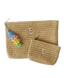 Personalized Straw Clutch Set with Tassel