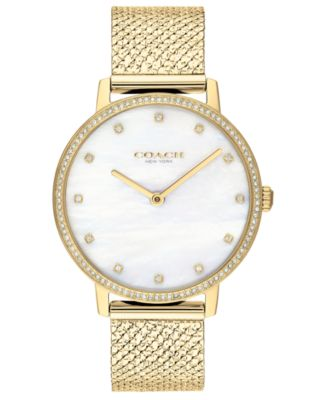 코치 여성 손목 시계 COACH Womens Audrey Gold-Tone Stainless Steel Bracelet Watch 35mm, Created for Macys,Yellow Gold