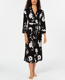 Charter Club Cotton Floral-Print Long Knit Robe, Created For Macy's