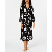 Charter Club Printed Cotton Long Knit Robe