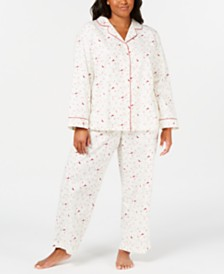 Charter Club Plus Size Brushed Knit Cotton Pajamas, Created for Macy's