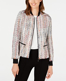 Elie Tahari Brooke Tweed Zip-Front Bomber Jacket