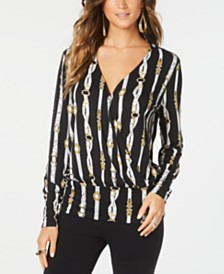 Thalia Sodi Printed Surplice Blouson Top, Created for Macy's