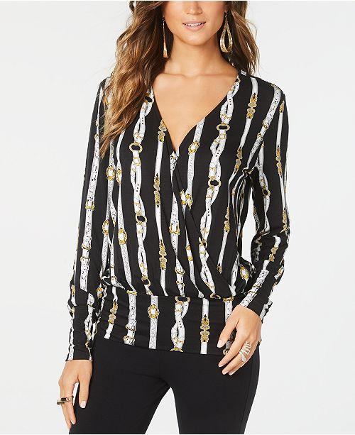 Thalia Sodi Printed Surplice Blouson Top, Created for Macy's