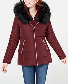 Juniors' Hooded Faux-Fur-Trim Puffer Coat