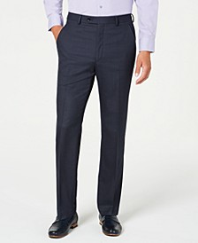 Men's Slim-Fit Performance Stretch Navy Windowpane Suit Separate Pants, Created for Macy's