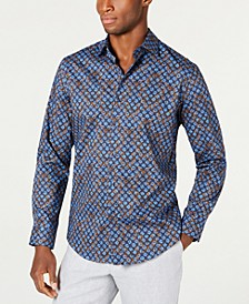 Men's Stretch Marble Demask Print Shirt, Created for Macy's