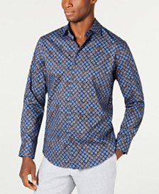 Tasso Elba Men's Marble Demask Print Shirt, Created for Macy's