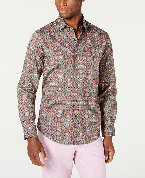 Tasso Elba Men's Stretch Tuscani Tile Print Shirt, Created for Macy's