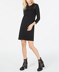 Faux-Leather-Trim Sheath Dress, Regular & Petite Sizes