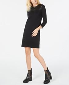 Michael Michael Kors Faux-Leather-Trim Sheath Dress, Regular & Petite Sizes