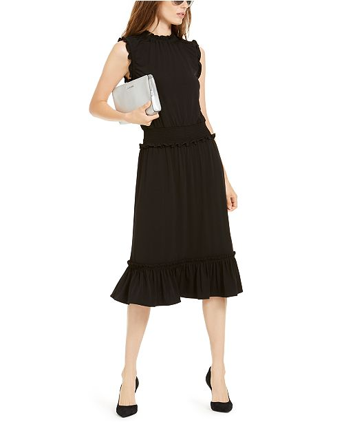 Michael Kors Smocked Ruffled A-Line Dress