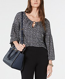 Scoop-Neck Printed Peasant Top, Regular & Petite Sizes