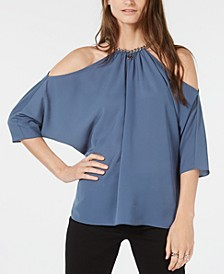 Chain-Link Cold-Shoulder Top, Regular & Petite Sizes