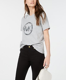 Michael Michael Kors Cotton Sequined Logo T-Shirt, Regular & Petite Sizes