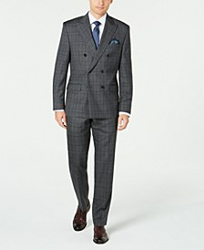 Men's Classic-Fit UltraFlex Stretch Gray/Purple Check Double Breasted Suit Separates