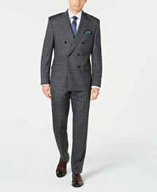 Lauren Ralph Lauren Men's Classic-Fit UltraFlex Stretch Gray/Purple Check Double Breasted Suit Separates