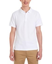 Nautica Young Men White Short Sleeve Double Pique Polo