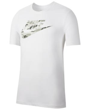 Nike Men's Camo-Logo T-Shirt In White/Wlfg