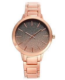 I.N.C. Women's Rose Gold-Tone Glitter Bracelet Watch 40mm, Created for Macy's