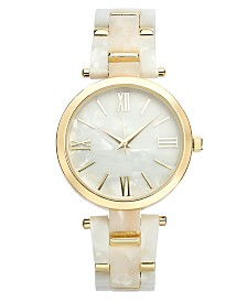 I.N.C. Imitation Mother-of-Pearl Bracelet Watch 40mm, Created for Macy's
