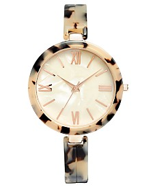 I.N.C. Women's Tortoise-Look Bangle Bracelet Watch 40mm, Created for Macy's