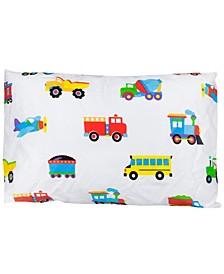 Trains, Planes, Trucks Hypoallergenic Toddler Pillowcase