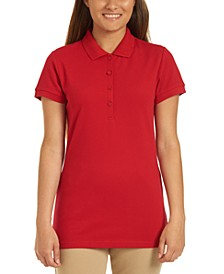 Juniors Short Sleeve Double Pique Polo