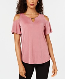 JM Collection Cold-Shoulder Textured Top, Created for Macy's